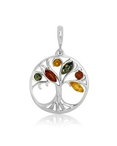 Sterling Silver Amber Tree Of Life Pendant P1068-M