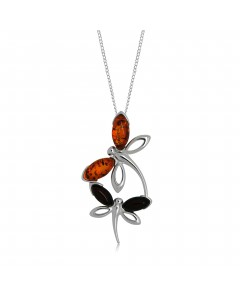 Sterling Silver Amber Dragonflies Pendant P964
