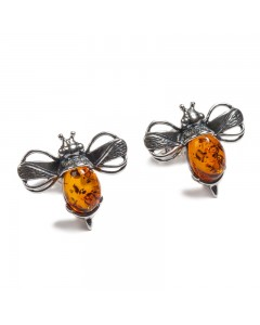 Henryka Sterling Silver Amber Bumble Bee Stud Earrings 1-6005-100-C-BU