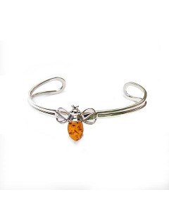 Henryka Sterling Silver Amber Bumble Bee Torque Bangle 1-6005-C-BU