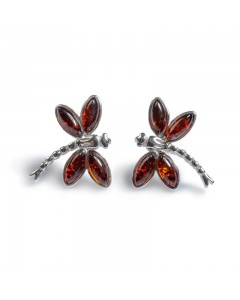 Henryka Sterling Silver Amber Dragonfly Stud Earrings 6E323-C-COS