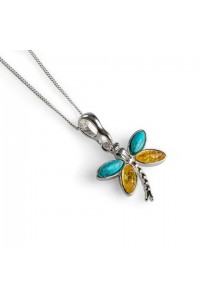 Henryka Sterling Silver Amber And Turquoise Dragonfly Pendant 6E323-P-TQY-COS
