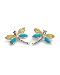 Henryka Sterling Silver Amber And Turquoise Dragonfly Earrings 6E323-TQY-COS