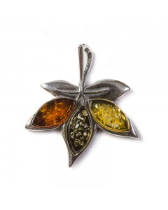 Henryka Sterling Silver Amber Maple Leaf Pendant PH301-CYG-B