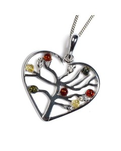 Henryka Sterling Silver Amber Symbol of Love Pendant PH519-CYG-COS