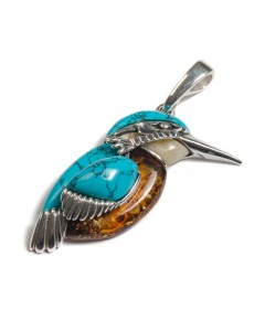 Henryka Sterling Silver Amber Large Kingfisher Pendant PH800-AAG