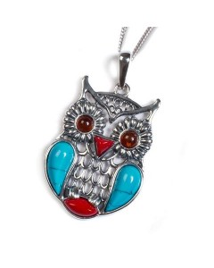 Henryka Sterling Silver Amber Feathered Owl Pendant PH708-TQCOR-C