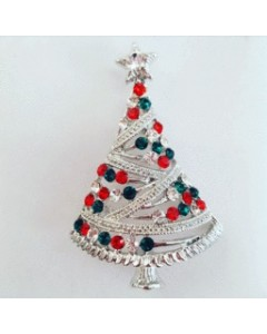 Rhodium Plated Christmas Tree Brooch B6687