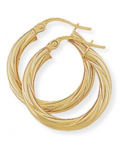 9ct Gold Twisted Hoop Earrings E742