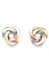 9ct Gold 3 Colour Ring Knot Studs ER972