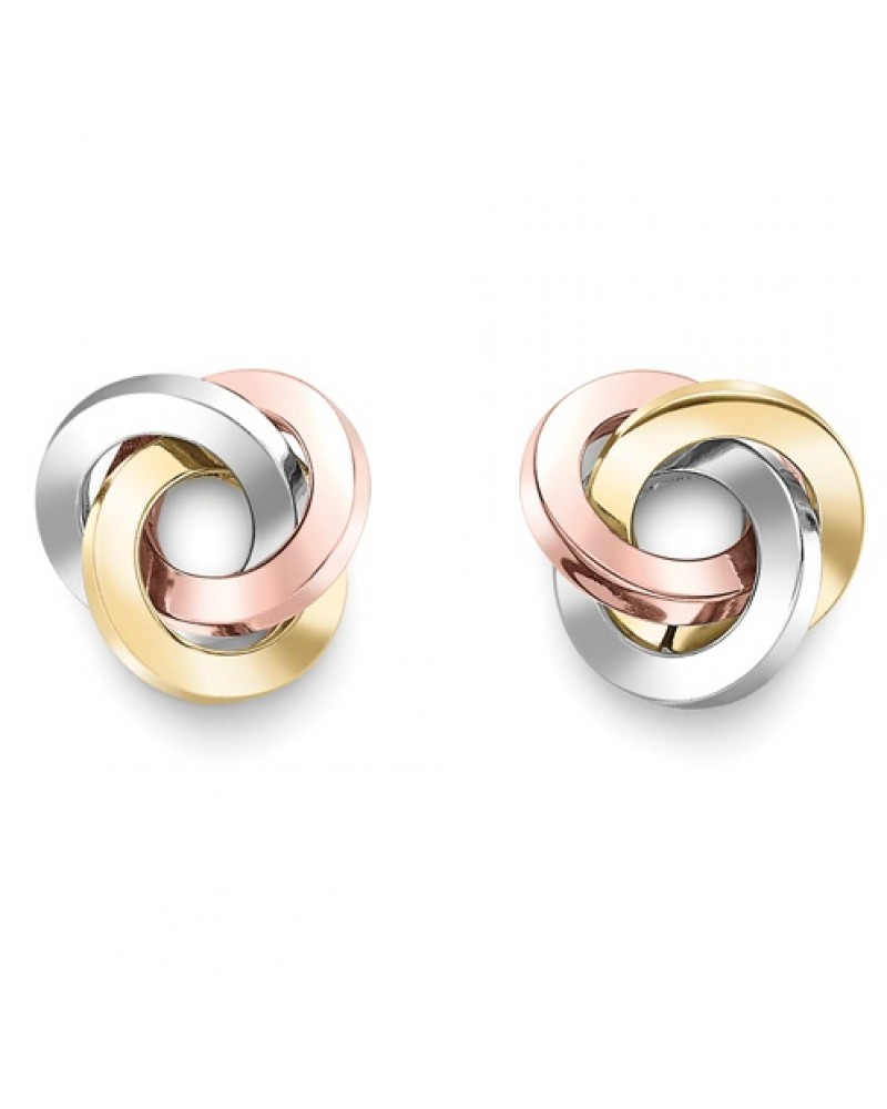 8b6f8eb02 9ct Gold 3 Colour Ring Knot Studs ER972