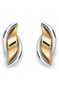 9ct Gold 2 Colour Wave Studs SE249