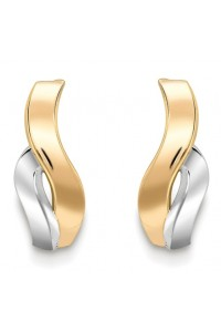 9ct Gold 2 Colour Wave Studs SE252
