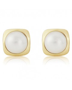9ct Gold Freshwater Pearl Square Stud Earrings SE538