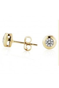 9ct Gold 5mm Rubover CZ Stud Earrings SE546