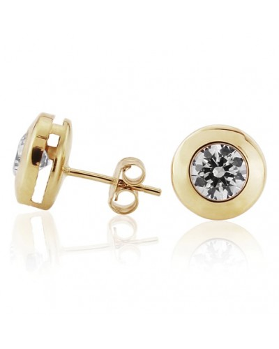 9ct Gold 9mm Rubover CZ Stud Earrings SE548