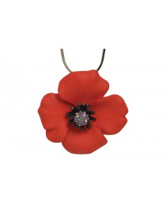 Rhodium Plated Passion Poppy Pendant
