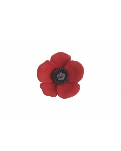 Rhodium Plated Medium Poppy Brooch B6666