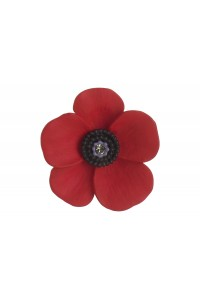 Rhodium Plated Large Poppy Brooch B6667