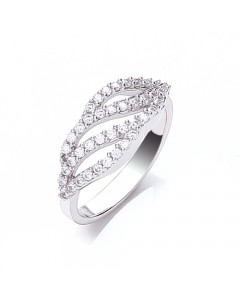 Purity 925 Sterling Silver Open Wave CZ Ring PNC2113/2