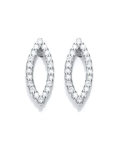Purity 925 Sterling Silver Marquise CZ Stud Earrings PUR1077ES