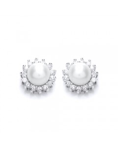 Purity 925 Sterling Silver FW Pearl & CZ Stud Earrings PUR1674ES