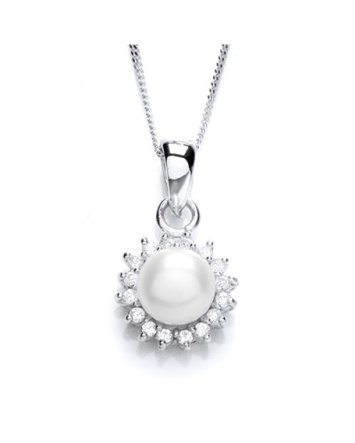 Purity 925 Sterling Silver FW Pearl & CZ Pendant PUR1674P/S