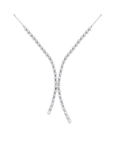 Purity 925 Sterling Silver Cubic Zirconia Tassle Necklet PUR1912N
