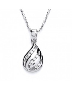 Purity 925 Sterling Silver CZ Teardrop Pendant PUR3514P/S