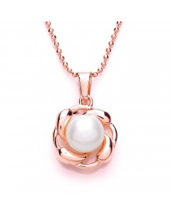 Purity 925 Rose Gold Plated Sterling Silver Pearl Pendant PUR3526PS