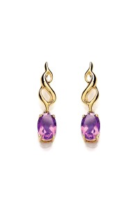 Purity 375 9ct Gold Amethyst Drop Earrings P2575ED-2