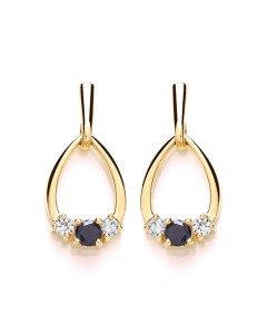 Purity 375 9ct Gold Sapphire & CZ Drop Earrings P2587ED-1
