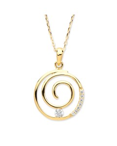 Purity 375 9ct Gold CZ Swirl Pendant PUR2601P/S