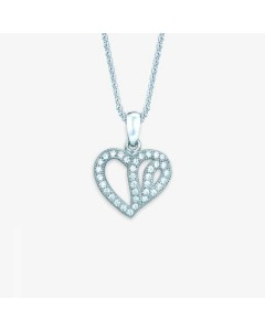 Real Effect Sterling Silver CZ Heart Pendant RE12304CZ