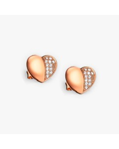 Real Effect Gold Plated Sterling Silver CZ Heart Stud Earrings RE28804CZ