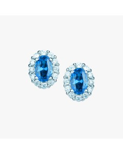 Real Effect Sterling Silver Blue CZ Stud Earrings RE29554SPCZ