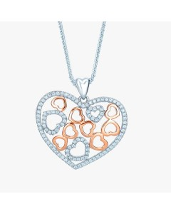 Real Effect Sterling Silver CZ Open Hearts Pendant RE29894CZ