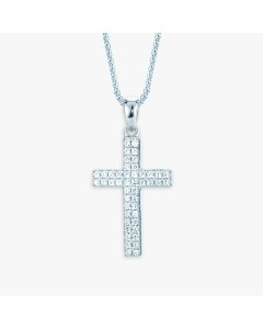 Real Effect Sterling Silver 2 Row CZ Cross Pendant RE29954CZ