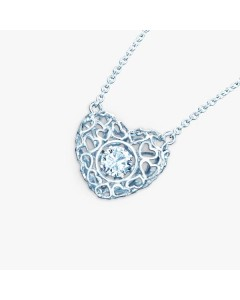 Real Effect Sterling Silver CZ Heart Necklet RE32614CZ