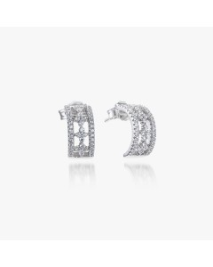 Real Effect Sterling Silver CZ Crosses Wedd Earrings RE33124CZ