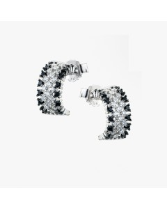Real Effect Sterling Silver CZ Half Hoops RE33404BZCZ