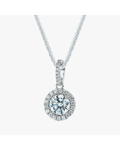 Real Effect Sterling Silver Round CZ Pendant RE37114CZ