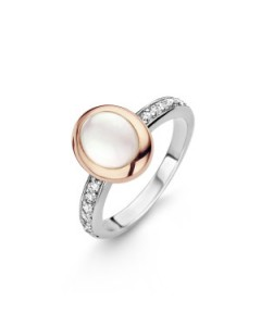 Ti Sento Rose Gold Plated Sterling Silver MOP & CZ Ring 12004MW