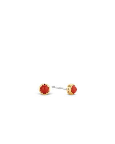 Ti Sento Milano Gold Plated Coral Red Stud Earrings 7597CR