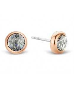 Ti Sento Milano Sterling Silver Rose Gold Plated 6mm Grey Blue Crystal Stud Earrings 7748GB