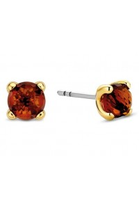Ti Sento Milano Sterling Silver Gold Plated 6mm Cognac Crystal Stud Earrings 7768CO