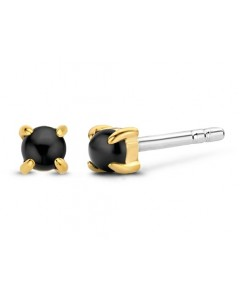 Ti Sento Milano Sterling Silver Gold Plated 3mm Black Onyx Stud Earrings 7833BO