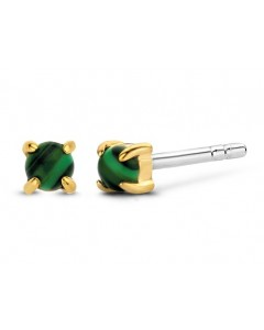 Ti Sento Milano Sterling Silver Gold Plated 3mm Malachite Stud Earrings 7833MA