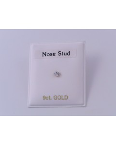 9ct Gold 2.5mm Claw Set CZ Nose Stud HG25