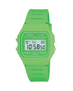Casio LCD Green Alarm-Chronograph Watch F-91WC-3AEF